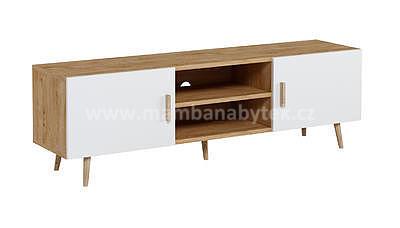 Brillo, televizní stolek, bílá/dub ribeck - 2