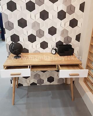 Brillo, psací stůl B2S, bílá/dub ribeck - 2