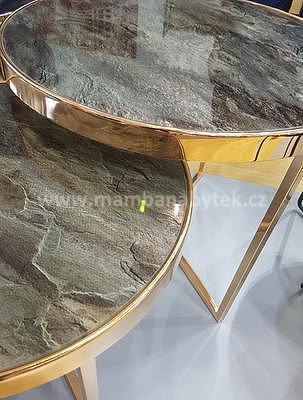 Delia II, konferenční stolek tvrzené sklo/zlatá - 2