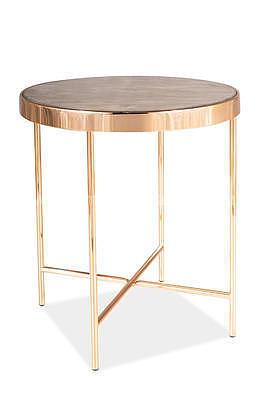 Fortuna C, odkládací stolek tvrzené sklo/zlatá - 2