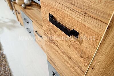 Loft, obývací stěna, dub wotan/beton - 2