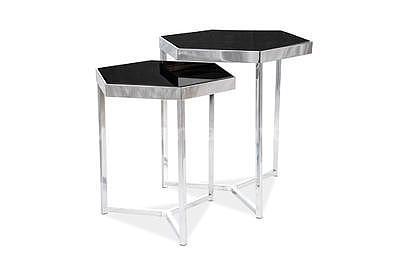 Milos, odkládací stolek černá/stříbrná - 2