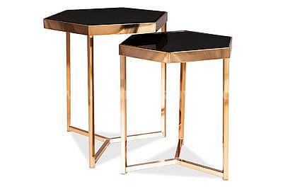 Milos, odkládací stolek černá/šampaň - 2