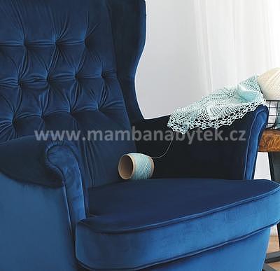 Prince, křeslo - sametově modrá/wenge - 2