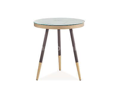 Vega C, odkládací stolek světlý mramor/černá/zlatá - 2