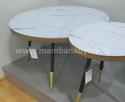 Vega B, konferenční stolek světlý mramor/černá/zlatá - 2