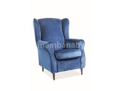 Baron, křeslo - modrá/wenge - 2