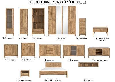Country CT42,  komoda - 2 skříňky - 2