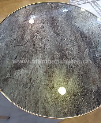 Ibiza C, odkládací stolek tvrzené sklo/zlatá - 2