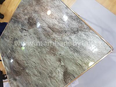 Cali, odkládací stolek tvrzené sklo/zlatá - 3