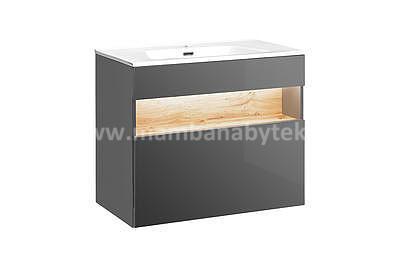 Bahama Grey 80, koupelnová sestava šedá lesklá/dub wotan + umyvadlo - 3