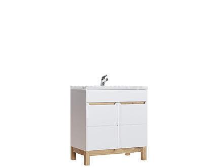 Bali White 60, koupelnová sestava bílá lesklá/dub wotan + umyvadlo - 3