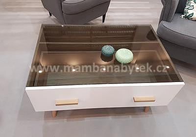 Brillo, konferenční stolek, bílá/dub ribeck - 3