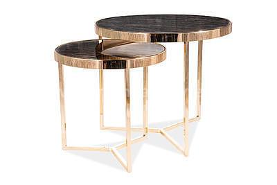 Delia II, konferenční stolek tvrzené sklo/zlatá - 3