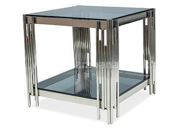 Fossil B, konferenční stolek kouřové sklo/stříbrná - 3