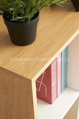 Grosso, psací stůl, dub zlatý/bílá - 3