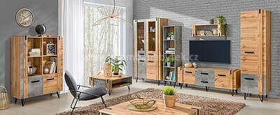 Loft 12, konferenční stolek, beton/dub wotan - 3
