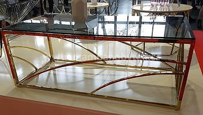 Universe, konferenční stolek kouřové sklo/zlatá - 3
