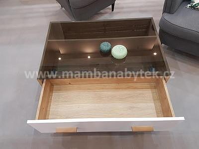 Brillo, konferenční stolek, bílá/dub ribeck - 4