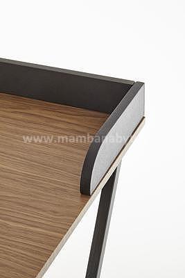 Benjamin, psací stůl, ořech/černá/zlatá - 4