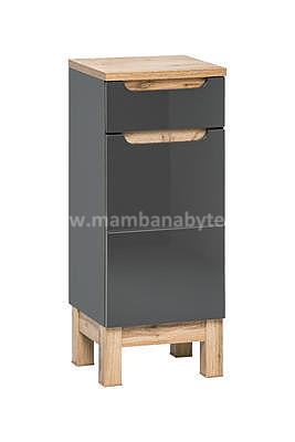 Bali Grey 60, koupelnová sestava šedá/dub wotan + umyvadlo - 4