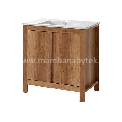 Classic Oak 80, koupelnová sestava dub románský + umyvadlo - 4