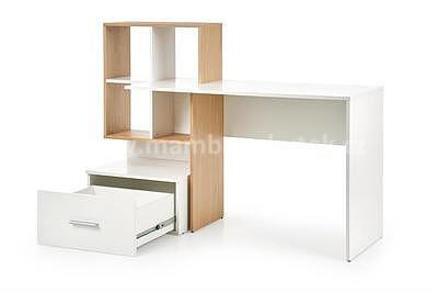 Grosso, psací stůl, dub zlatý/bílá - 4