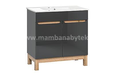 Bali Grey 60, koupelnová sestava šedá/dub wotan + umyvadlo - 5