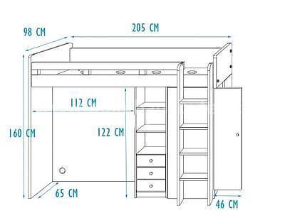vyvýšená postel Unit, šedá/bílá - 6