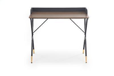 Benjamin, psací stůl, ořech/černá/zlatá - 7